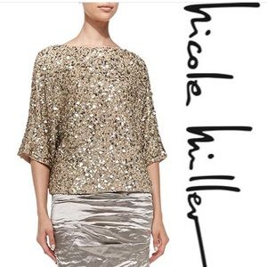 NWT Nicole Miller Sandy Techno Metal Skirt Size 6